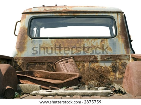 Old rusted truck bed, isolated - stock photo