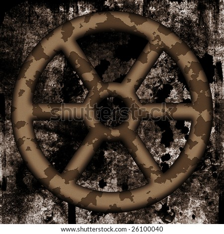 Old rusted twheel on dirty background - stock photo
