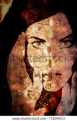 old rustic brown wall with a graffiti illustration of a woman's face. - stock photo