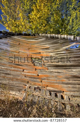 Old Rustic Granary storage Saskatchewan Canada - stock photo