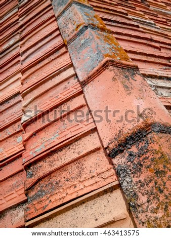 Old rustic roof on the old building, top view from above, shallow depth of view