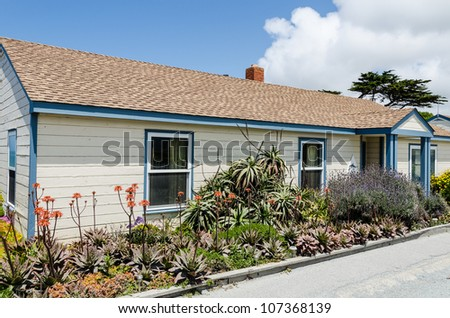 Old rustic vintage building on California coast - stock photo