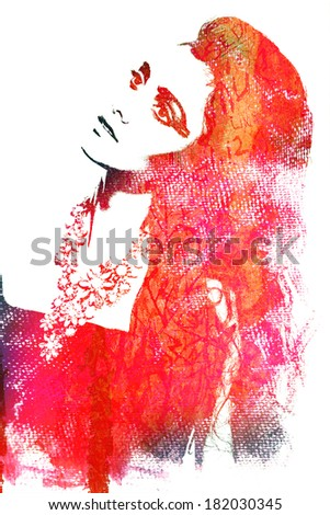 old rustic wall with a graffiti illustration of a woman's face - stock photo