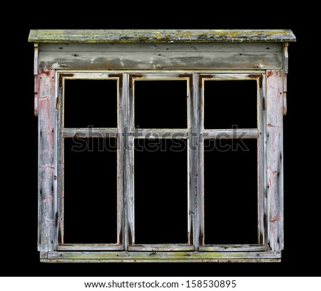 Old rustic wooden window frame for photos and paintings background, isolated over black (clipping path included) - stock photo