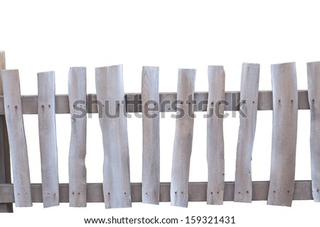 Old Rustic worn and dicolored Fence on white background - stock photo