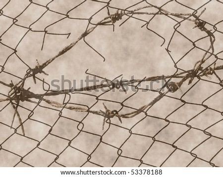 old rusty barbed wire fence for texture - stock photo