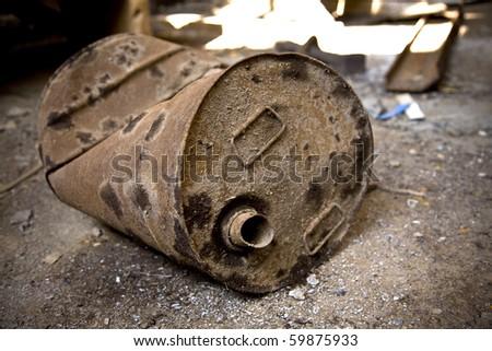 old rusty bin - stock photo