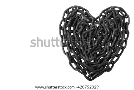 Old Rusty Black Chains Isolated on White Background, Heart Shape. - stock photo