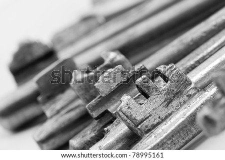 Old rusty bunch of keys. Close-up view - stock photo