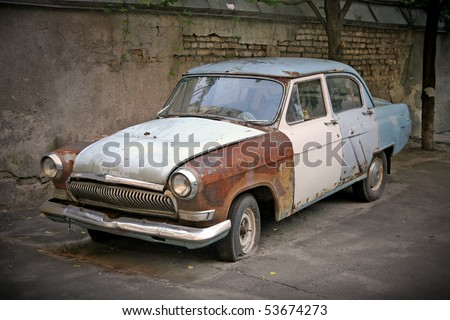 old rusty car - stock photo