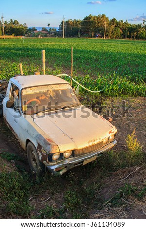 Old Rusty car in agriculture field - stock photo