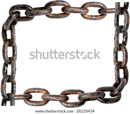 Old rusty chain frame - stock photo
