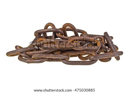 Old rusty chain isolated on a white background