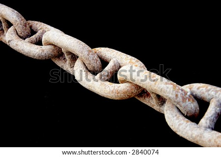 old rusty chain over black - stock photo