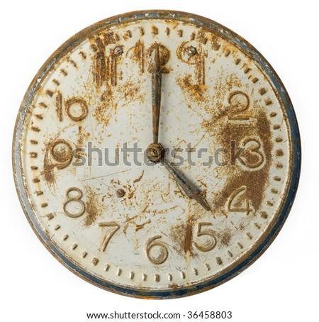 Old rusty Clock Face - stock photo