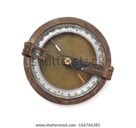 old rusty compass on white - stock photo