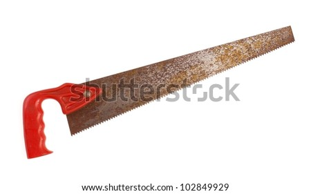 Old rusty crosscut handsaw on white background