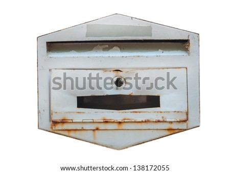 old rusty dirty broken mailbox isolated white background - stock photo