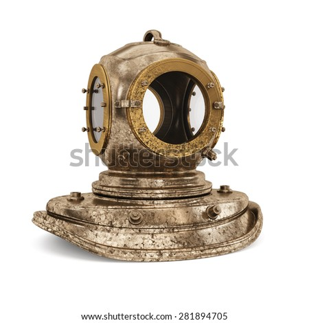 Old rusty diving helmet isolated on white background. 3d render - stock photo