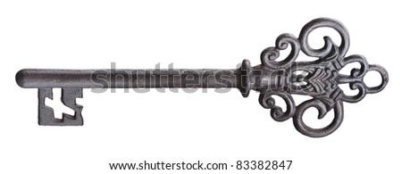 Old rusty door key isolated on white. - stock photo
