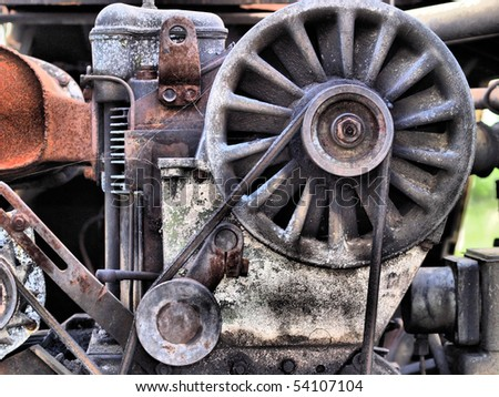 Old rusty engine - stock photo