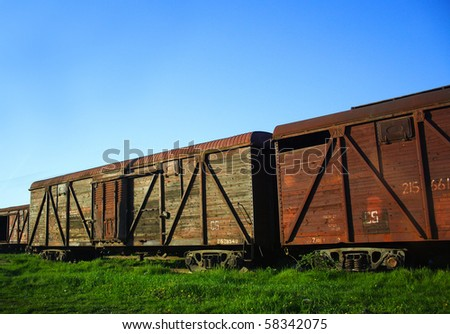 old rusty freight train carts - stock photo