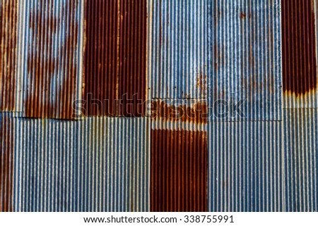 Old rusty galvanized background (bright version) - stock photo