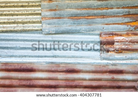 Old rusty galvanized iron roof pattern