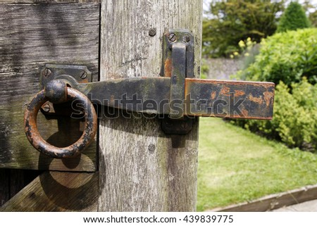 Old rusty garden gate latch