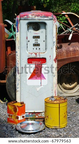 Old Rusty Gas Pump - stock photo