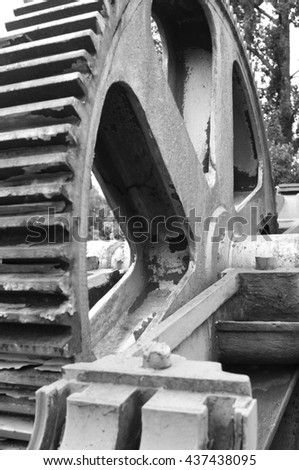 old rusty gear wheel - stock photo