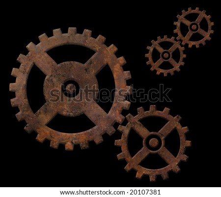Old rusty gears isolated on black background - stock photo