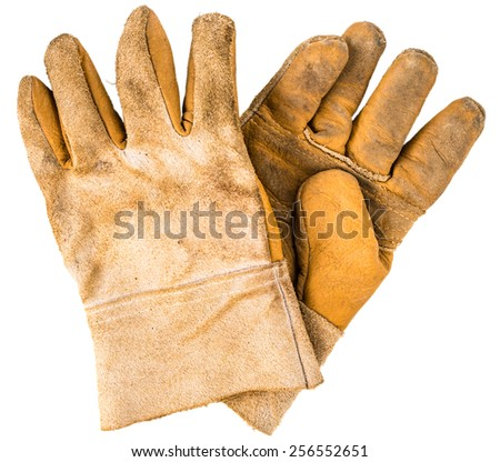 Old rusty gloves closeup