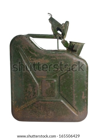 old rusty green jerrycan on white background - stock photo