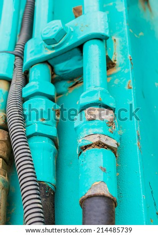 old rusty green pressure pipeline abstract images . - stock photo