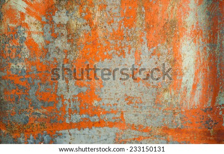 Old rusty grunge orange painted metal texture background - stock photo