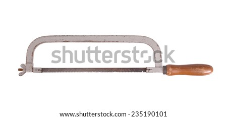 Old rusty hacksaw, isolated on white background - stock photo