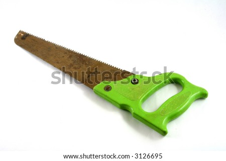 old rusty hacksaw with green plastic lever isolated on white