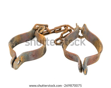 Old rusty handcuffs isolated on white - stock photo