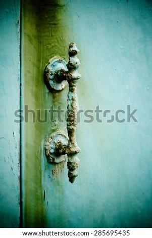 Old rusty handle - stock photo
