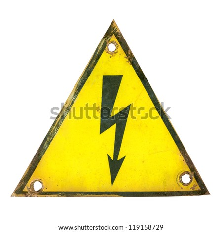 old rusty high voltage sign - stock photo