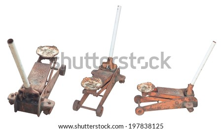 Old rusty hydraulic car floor jack - stock photo