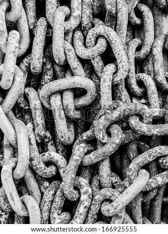 Old rusty iron Chains - stock photo