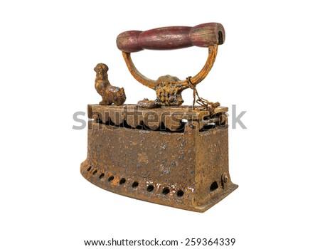 Old rusty iron isolated on white background - stock photo
