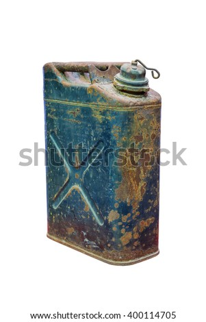 Old rusty jerrycan isolated on white background (isolated on white and clipping path) - stock photo