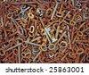 Old rusty keys background - stock photo