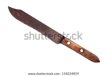 Old rusty kitchen knife, isolated on the white.