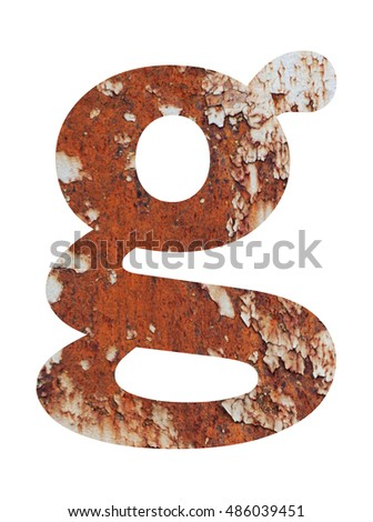 Old rusty metal alphabet, text g, isolated over the white background