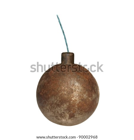 old rusty metal bomb isolated on white - stock photo
