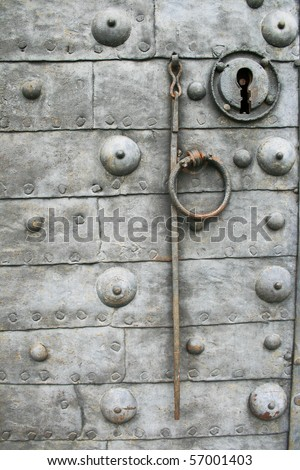 old rusty metal door - stock photo